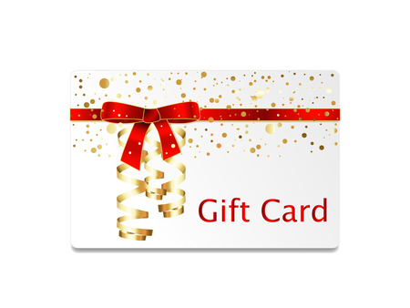 streamers: Gift card with red ribbon bow and streamers