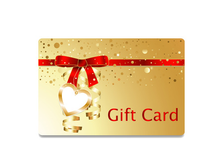 streamers: Golden gift card with red ribbon bow with golden streamers