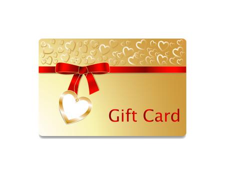 golden heart: Gift card with golden heart pattern