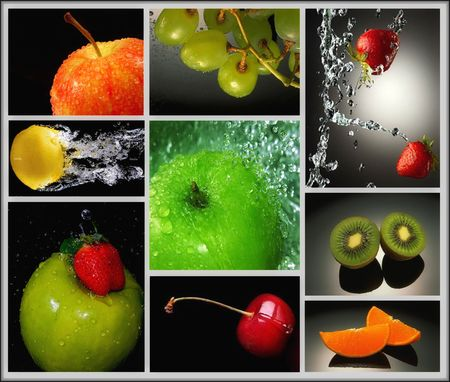 mixed berries: fruits in water collage
