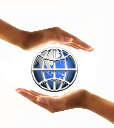 protecting: world globe in hands Stock Photo