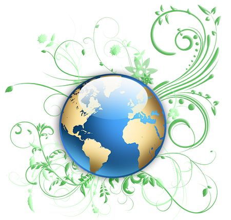 world globe with floral ornament Stock Photo - 5890283