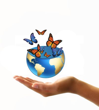 human geography: globe full of butterflies in hand