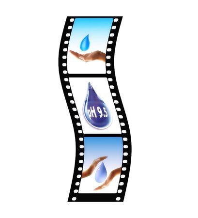 wavy film strip with waterdrops photo