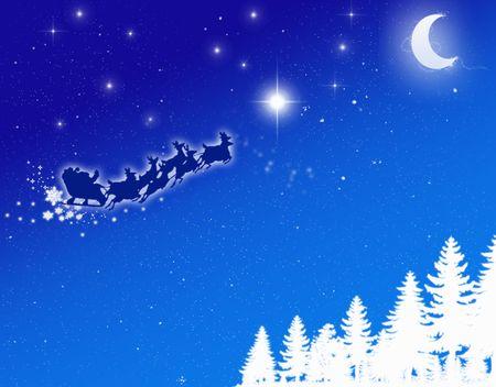 santa on blue sky photo