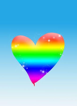 multy: rainbow heart Stock Photo