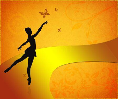 tiptoe: Vintage card with ballet dancer