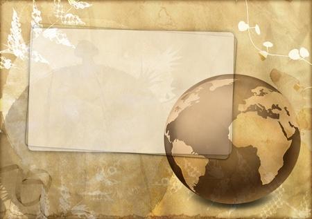 Vintage card with world globe photo