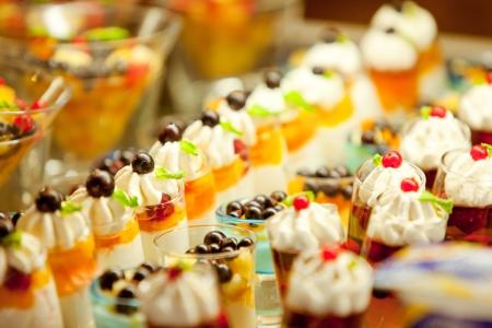 Cream and fruit dessert close up photo