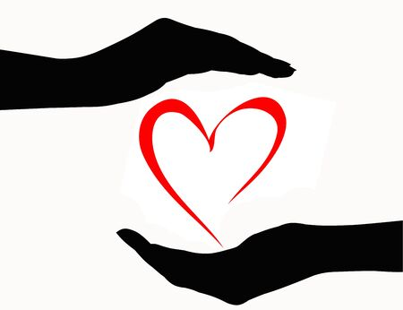 hands holding heart: Hands holding heart icon
