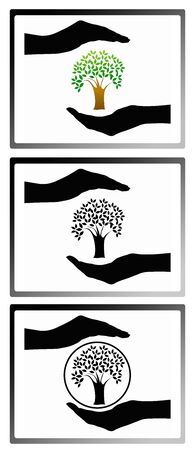 care: Tree care icon collection Stock Photo