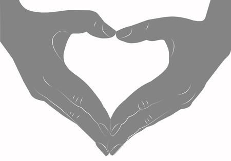 Hands making heart sign silhouette Stock Photo