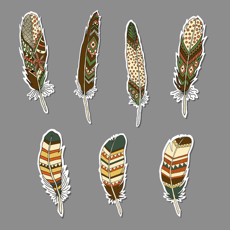 Set of STICKERS with feathers in ethnic style. Indian style. Boho Style. Vector illustration 向量圖像