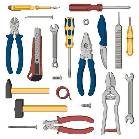 수리를위한 일련의 도구. 벡터. 삽화.