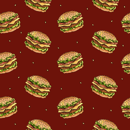 Seamless pattern with burgers and sesame seeds on a red background. Vector. Illustration