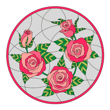 Round stained glass window with roses and leaves. Vector. Illustration