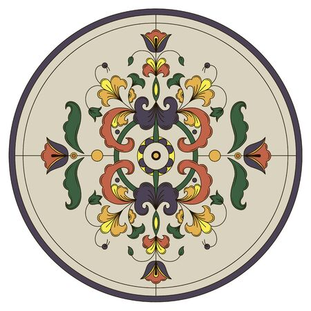 Round stained glass window with floral ornaments. Vector. Illustration Illustration
