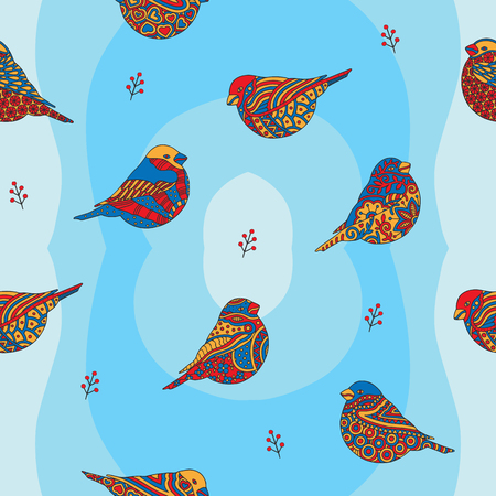 Seamless winter pattern with stylized bullfinches and branches of mountain ash on a blue background. Vector illustration. Ilustracja