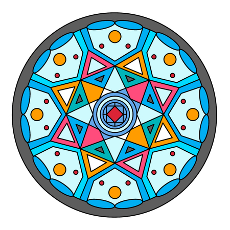 Round stained glass window with geometric pattern. Vector. Flat illustration