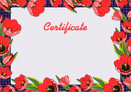Gift certificate with tulips on purple background. Vector illustration