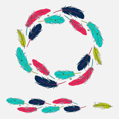 Vector set of frame and patterned brush with colorful feathers isolated on white background. Illustration Illustration
