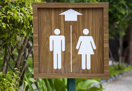 Toilet sign on the beach. Male and female WC