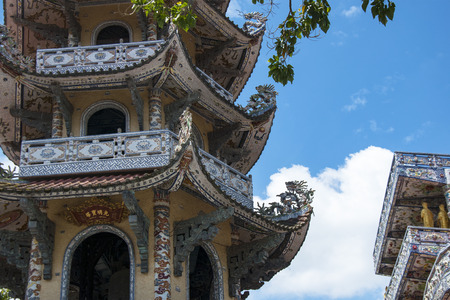 Mosaic Pagoda Lin Phuoc in the city of Dalat Vietnam, a Buddhist temple. Part.