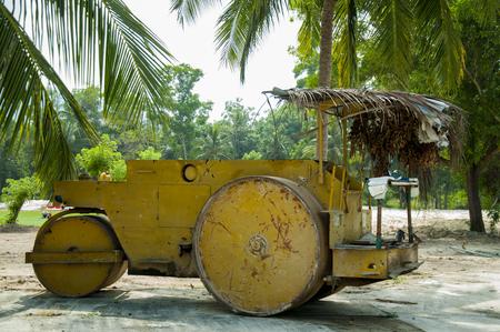 Old steamroller for paving asphalt in Vietnam.