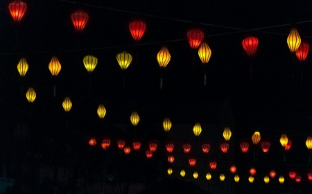 CHINESE Lanterns IN THE DARKNESS. DETAILED BY DIAGONALS.