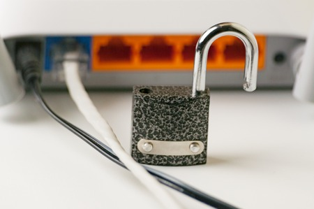 Lock unlock security on a computer. Protecting the Internet connection through a router is a concept of a security breach. Cyber security