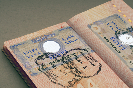 Entry Egyptian visa in the passport. Selective focus. Travel concept