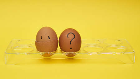 Chicken eggs in an egg stand. Tray for eggs. Half an egg, egg yolk, shell. Emotions and facial expressions on eggs, a question mark on an egg. Black egg