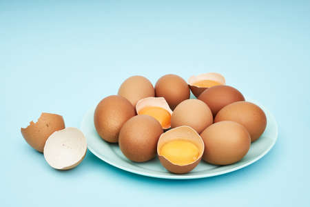 Chicken eggs on a saucer, a plate. Food, protein in foods