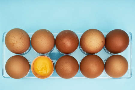 Chicken eggs in an egg holder. Full tray of eggs. Half an egg, egg yolk, shell. Food, protein in foods