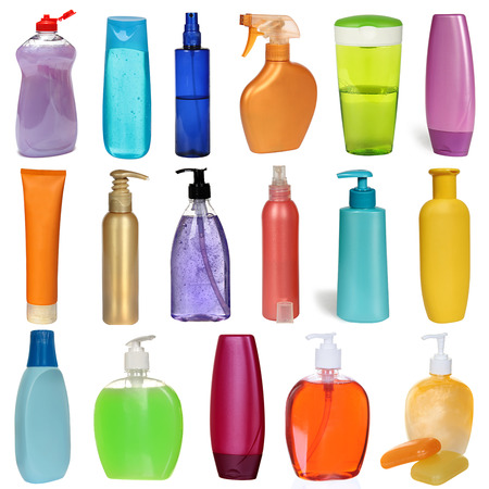 hair gel: 17 colored plastic bottles with liquid soap and shower gel isolated on white . Studio shooting. Set. Stock Photo