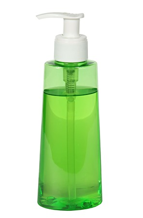 lotion bottle: close up of a plastic soap bottle on white  Stock Photo