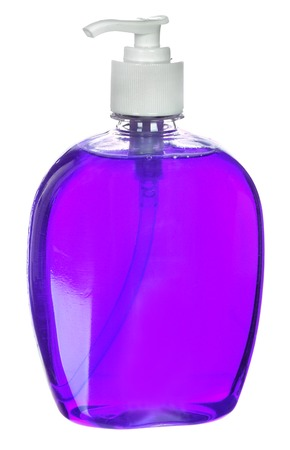 sud: Plastic Bottle with liquid soap on a white .shampoo
