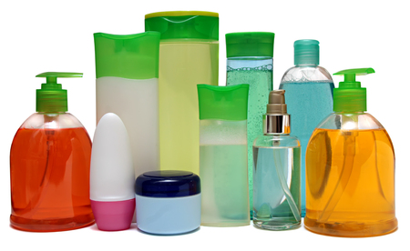 moisturiser: 10 colored plastic bottles with liquid soap and shower gel isolated on white . Studio shooting. Set.