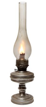 oil lamp. old kerosene lamp isolated on white . oil-stove