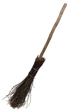broomstick: Old wicked broom isolated on white . witchs broomstick. A besom or more commonly known as the witches broomstick .