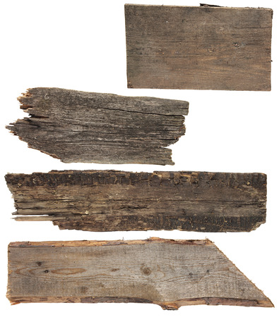distressed wood: Four old wooden boards isolated on a white . Old Wood plank, isolated on white (Save Paths For design work) Stock Photo