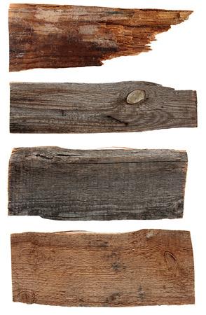 4 歳の木の板は、白で隔離。古い木の板は、白で隔離