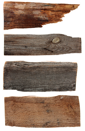 Four old wooden boards isolated on a white . Old Wood plank, isolated on white