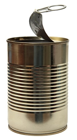 pulltab: cylindrical Tin Can, Isolated On White . Stock Photo