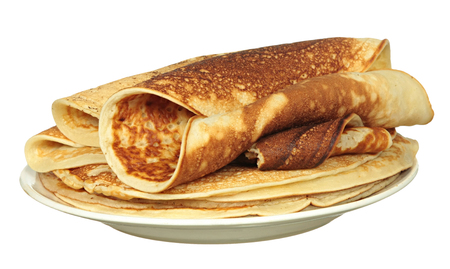 パンケーキは、白で隔離の山 写真素材