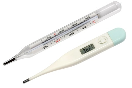 digital thermometer: Two thermometers: mercury and electronic. Isolated on white background.