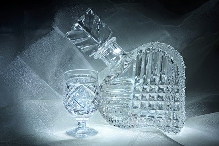 decanter: Still life with a crystal decanter and glass