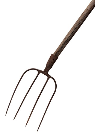 idioms: Old rusty fork isolated on a white background.