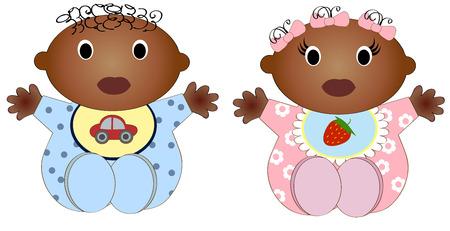 ツイン アフリカ赤ちゃん男の子と Girl.Vector の 2 つの図の子供たち