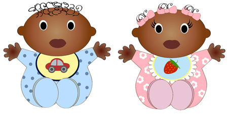 gemelos niÑo y niÑa: Doble africano Bebé Y girl.vector ilustración Dos niños